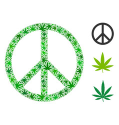 Peace composition weed leaves vector