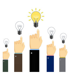 people showing finger at light bulbs vector image