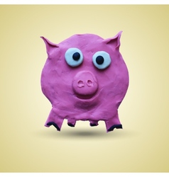 Pink pig in front view vector image