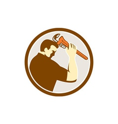 Plumber Holding Monkey Wrench Side Circle Retro vector