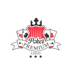 poker premum logo vintage emblem for poker club vector image