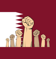 Qatar protest with hand fist with qatar flag as vector