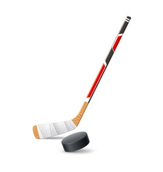 realistic ice hockey stick with 3d puck vector image