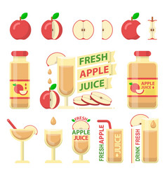 Red apple and fresh juice flat elements vector