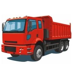 Red dump truck vector image