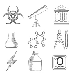 Science and chemistry sketches icons set vector
