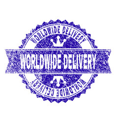 Scratched textured worldwide delivery stamp seal vector