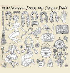 Set dress up paper doll with halloween witch vector