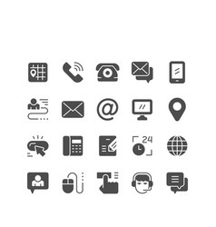 set icons contact us vector image