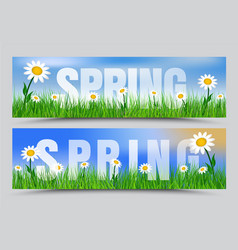 set spring web banners with green grass white vector image