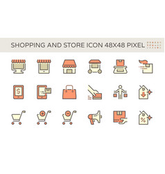Shopping and store front icon set design 48x48 vector