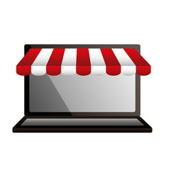 shopping online laptop market commerce vector image
