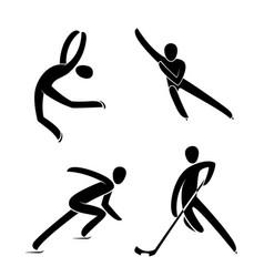 silhouette ice figure skatinghockey player short vector image
