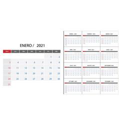 Simple calendar 2021 on spanish language week vector