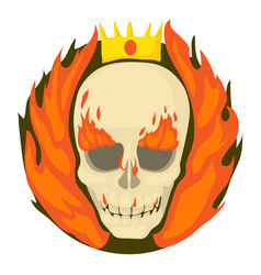 Skull on fire icon cartoon style vector