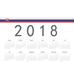 Slovak 2018 year calendar vector