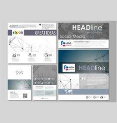 Social media posts set abstract flat design vector