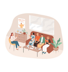Students and teacher sit in an informal setting vector