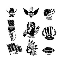 symbols usa set american independence day vector image