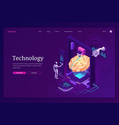 technology isometric landing page ai robot brain vector image