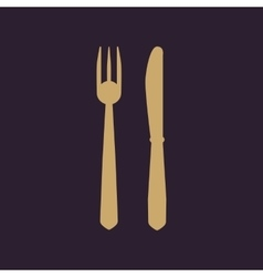 The knife and fork icon vector image