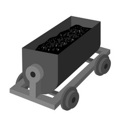 the red cart on wheels for lifts minerals from vector image