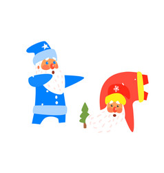 two dancing santas christmas vector image