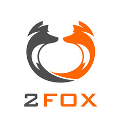 two head fox logo vector image