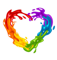 Vibrant heart-shaped splash in lgbt colors vector