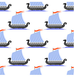 Viking long boat icon seamless pattern vector