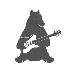 Vintage of Funny Bear with Guitar vector