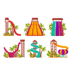 Water park set with colored waterslides and tubes vector