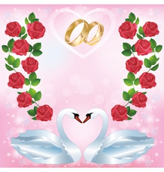 Wedding greeting or invitation card with two swans vector image