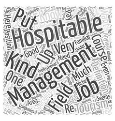 What Are Hospitality Management Jobs Word Cloud vector