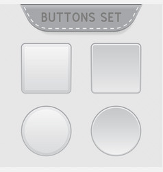 white 3d buttons square and round blank buttons vector image