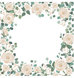 White rose flowers and silver dollar eucalyptus vector
