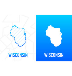 Wisconsin - us state contour line in white vector