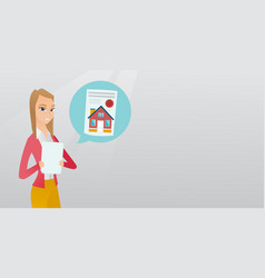 Woman reading real estate advertisement vector