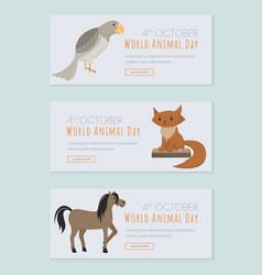 world animals day landing pages set saving vector image