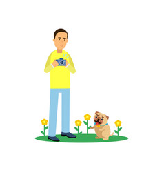 Young man character taking photo of his cute pug vector