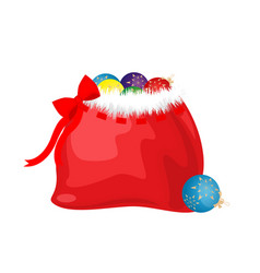 Bag with gifts and balls for the new year vector