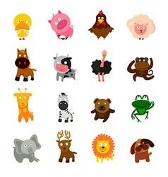 cartoon cute animal set vector image vector image