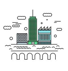 City architecture Urban landscape with skyscraper vector image