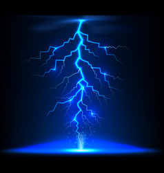 lightning of blue with a black background vector image vector image