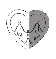 sticker of monochrome contour of heart with family vector image