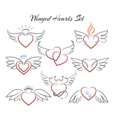 winged heart set hearts with wings in doodle vector image