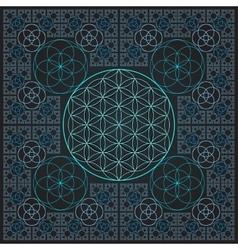 circle flower of life fractal sacred geometry vector image