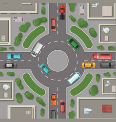 city buildings roads and cars top view vector image vector image
