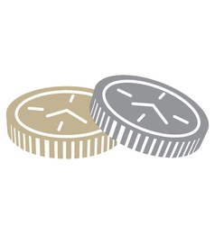 Coins with clock face vector image vector image