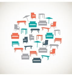 Colorful furniture icons - outdoor vector image vector image